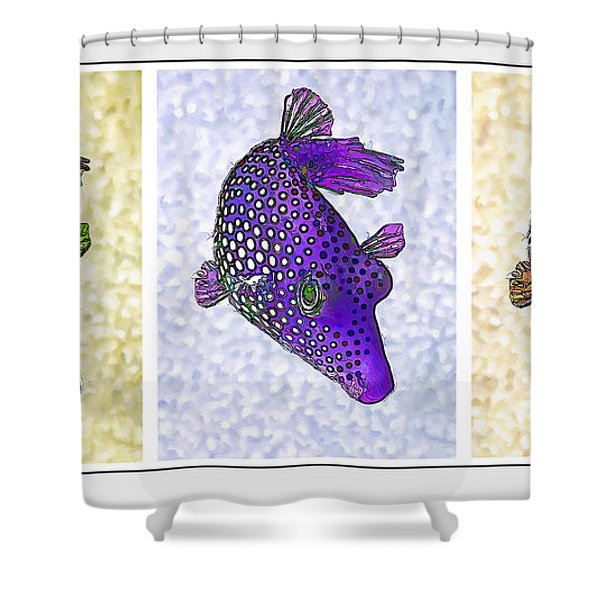 Guinea Fowl Puffer Fish Triptych Shower Curtain by Bill Caldwell -        ABeautifulSky Photography