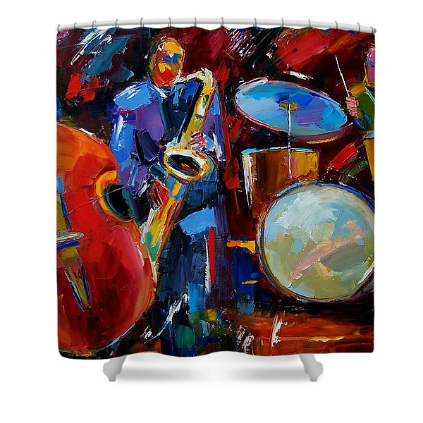 Half The Band Shower Curtain by Debra Hurd