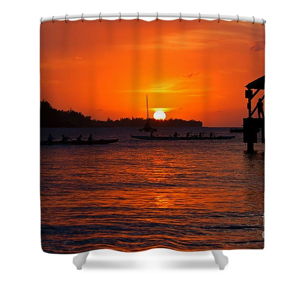 Hanalei Sunset Shower Curtain by Mike  Dawson