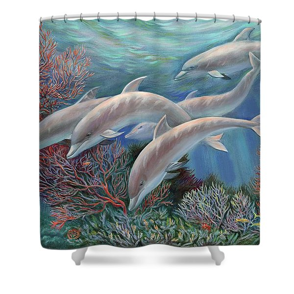 Happy Family - Dolphins Are Awesome Shower Curtain by Svitozar Nenyuk