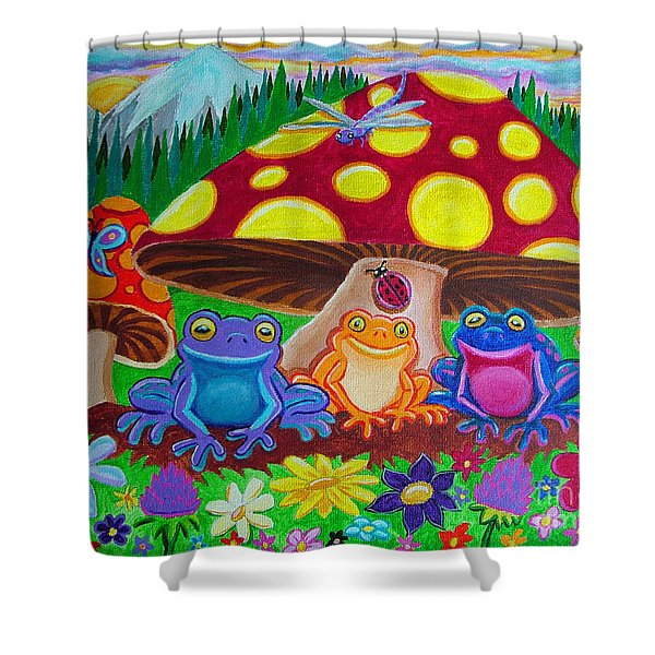 Happy Frog Meadows Shower Curtain by Nick Gustafson