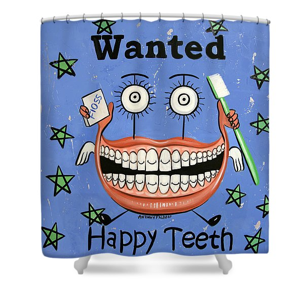 Happy Teeth Shower Curtain by Anthony Falbo