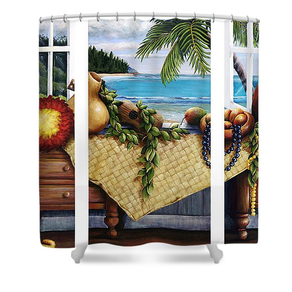 Hawaiian Still Life with Haleiwa on My Mind Shower Curtain by Sandra Blazel - Printscapes
