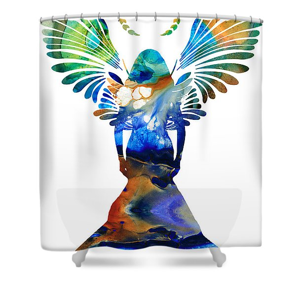 Healing Angel - Spiritual Art Painting Shower Curtain by Sharon Cummings