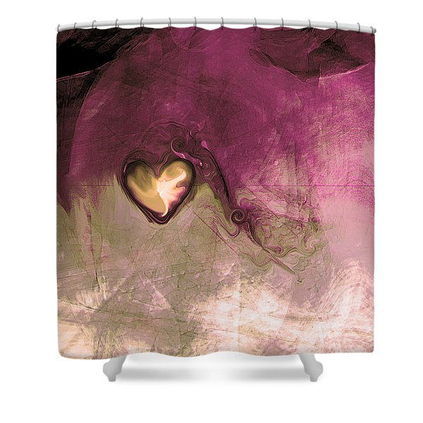 Heart Of Gold Shower Curtain by Linda Sannuti