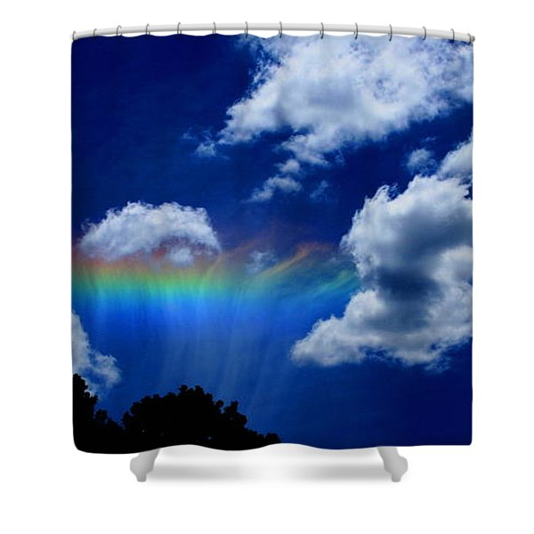 Heavens Rainbow Shower Curtain by Linda Sannuti