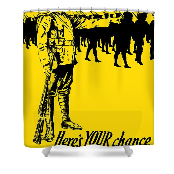 Here's your chance - It's men we want Shower Curtain by War Is Hell Store