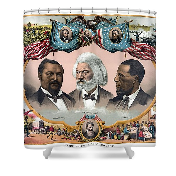 Heroes Of The Colored Race Shower Curtain by War Is Hell Store