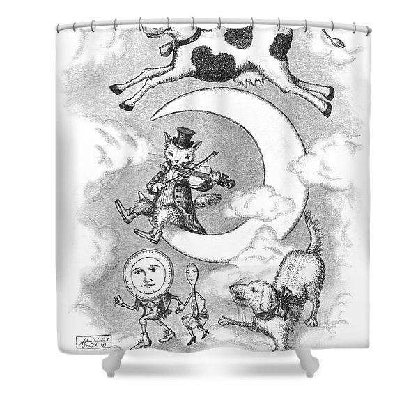 Hey Diddle Diddle Shower Curtain by Adam Zebediah Joseph