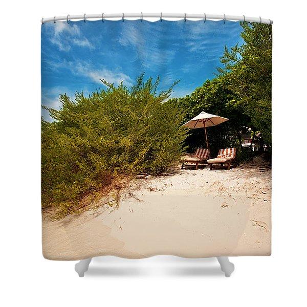 Hideaway. Maldivian Beach Shower Curtain by Jenny Rainbow