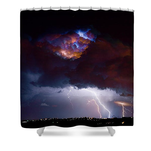 Highway 52 Thunderhead Lightning Cell Shower Curtain by James BO  Insogna
