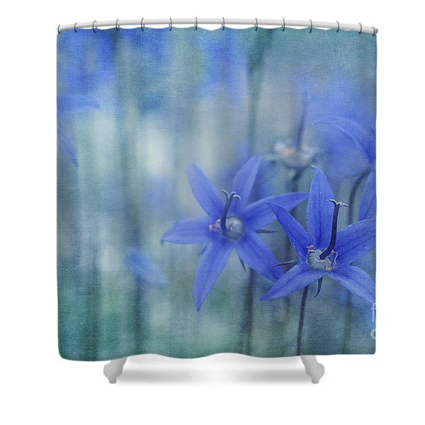 Hillside Blues Shower Curtain by Priska Wettstein