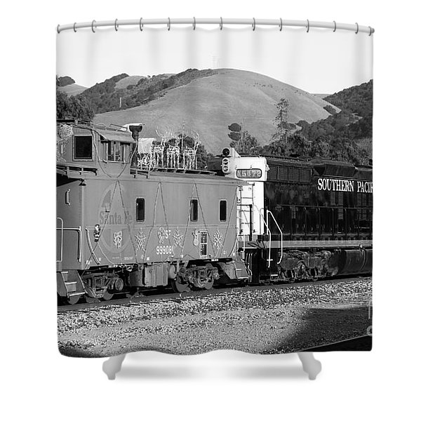 Historic Niles Trains in California . Southern Pacific Locomotive and Sante Fe Caboose.7D10843.bw Shower Curtain by Wingsdomain Art and Photography