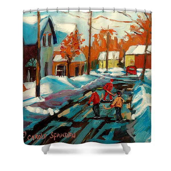 Hockey Game In Ville St Laurent Montreal Streetscenes Shower Curtain by Carole Spandau