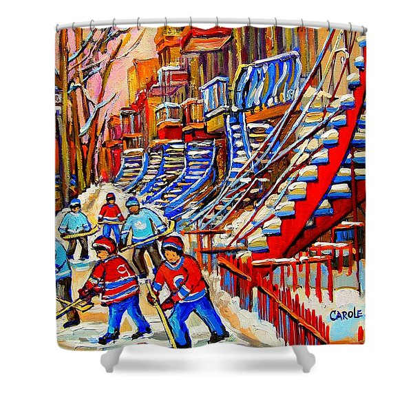 Hockey Game Near The Red Staircase Shower Curtain by CAROLE SPANDAU