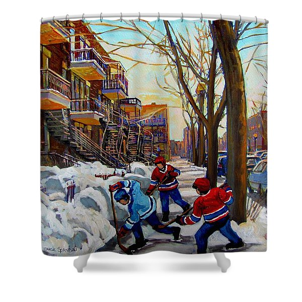 HOCKEY ON DE BULLION  Shower Curtain by CAROLE SPANDAU