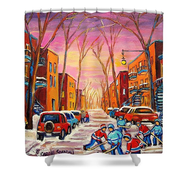 Hockey On Hotel De Ville Street Shower Curtain by Carole Spandau