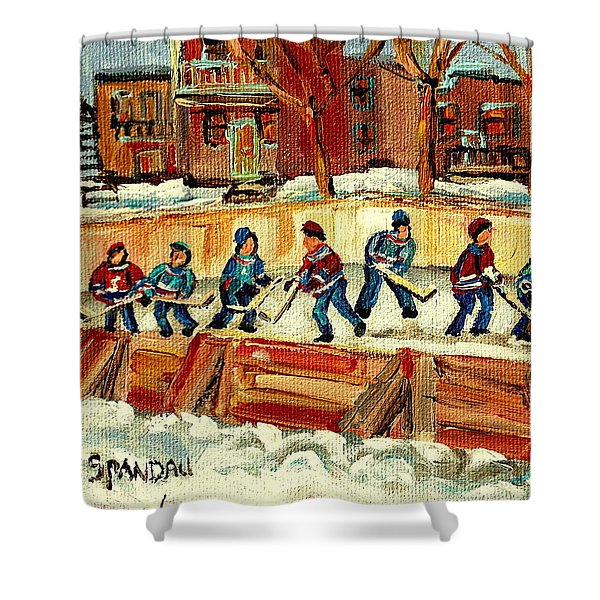 Hockey Rinks In Montreal Shower Curtain by Carole Spandau