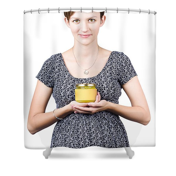 Holistic naturopath holding jar of homemade spread Shower Curtain by Ryan Jorgensen