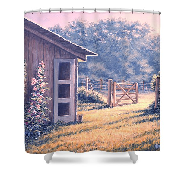 Holly Hocks Shower Curtain by Richard De Wolfe