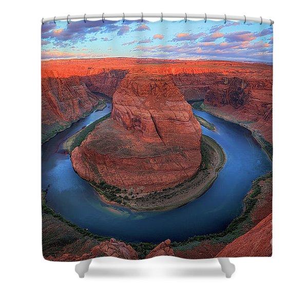 Horseshoe Bend Sunrise Shower Curtain by Inge Johnsson