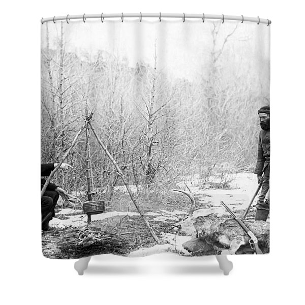 HUNTING CAMP WINTER 1887-88 -- SOUTH DAKOTA Shower Curtain by Daniel Hagerman