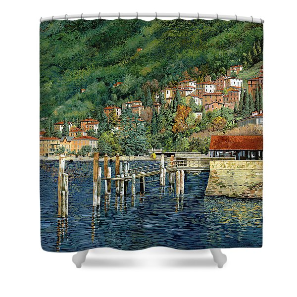 il porto di Bellano Shower Curtain by Guido Borelli
