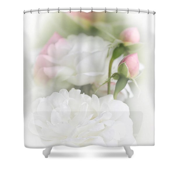 Illusions of White Roses and Pink Rosebuds Shower Curtain by Jennie Marie Schell