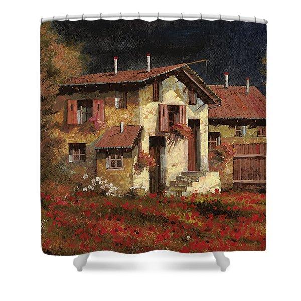 In Campagna La Sera Shower Curtain by Guido Borelli