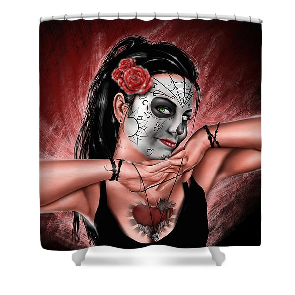 In The Hands Of Death Shower Curtain by Pete Tapang