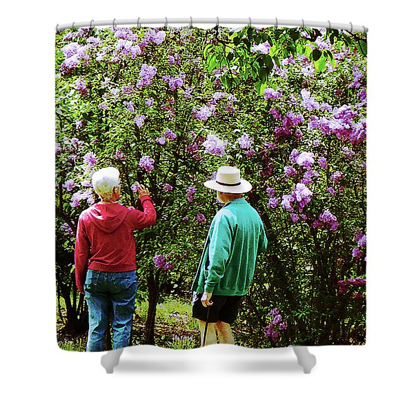 In the Lilac Garden Shower Curtain by Susan Savad