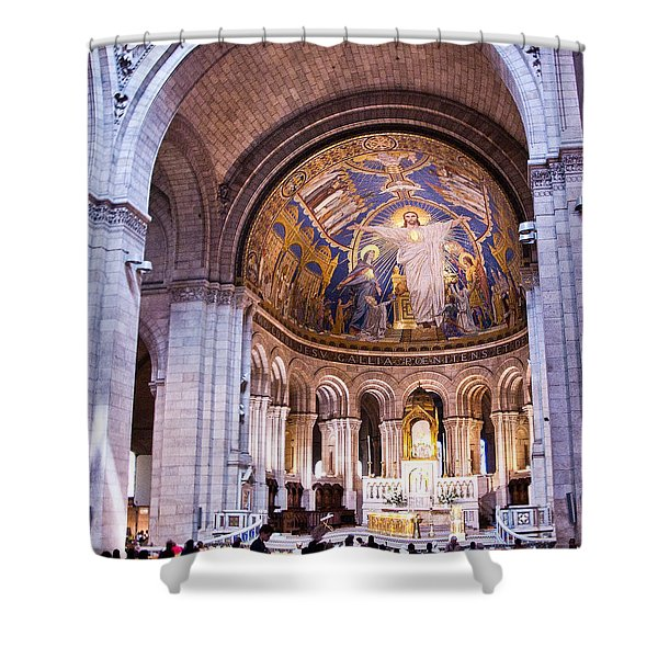 Interior Sacre Coeur Basilica Paris France Shower Curtain by Jon Berghoff