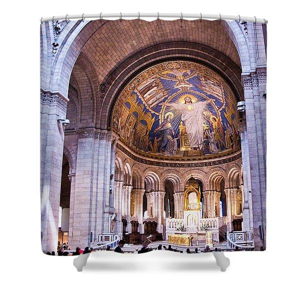 Interior Sacre Coeur Basilica Paris France Shower Curtain by Jon Berghoff
