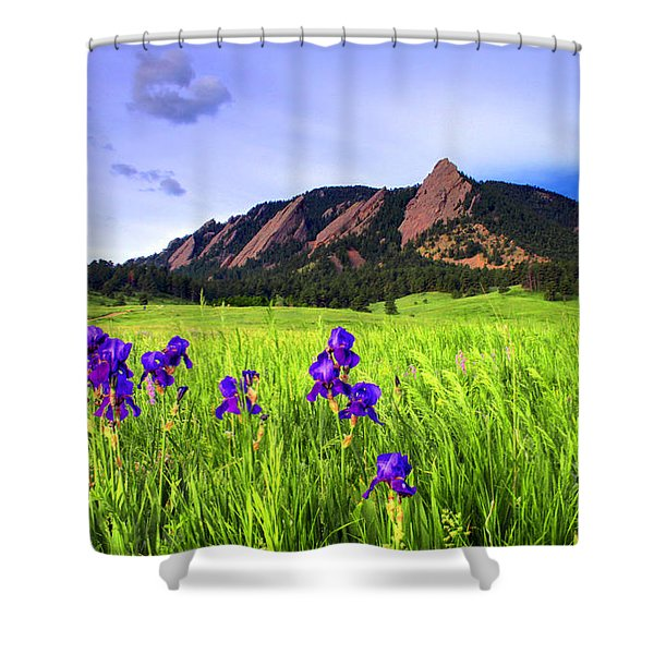 Iris and Flatirons Shower Curtain by Scott Mahon