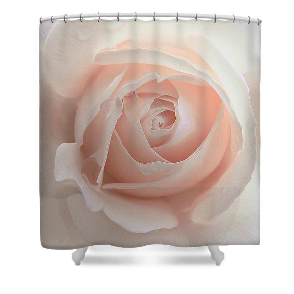 Ivory Peach Pastel Rose Flower Shower Curtain by Jennie Marie Schell