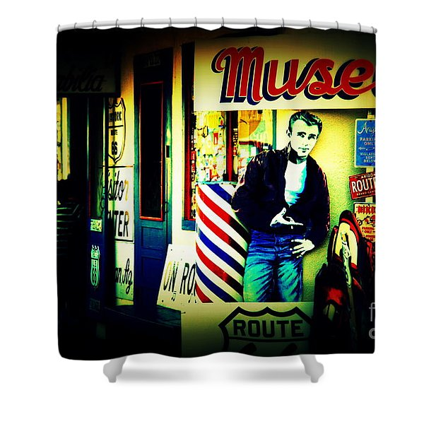 James Dean on Route 66 Shower Curtain by Susanne Van Hulst