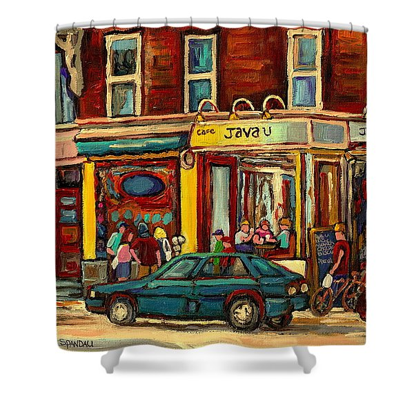 JAVA U COFFEE SHOP MONTREAL PAINTING BY STREETSCENE SPECIALIST ARTIST CAROLE SPANDAU Shower Curtain by CAROLE SPANDAU