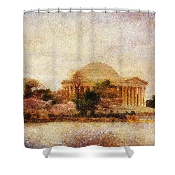 Jefferson Memorial Just Past Dawn Shower Curtain by Lois Bryan