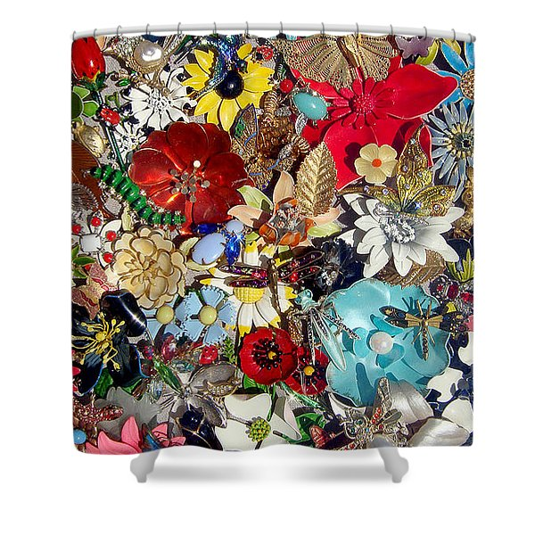 Jeweled Garden Shower Curtain by Donna Blackhall