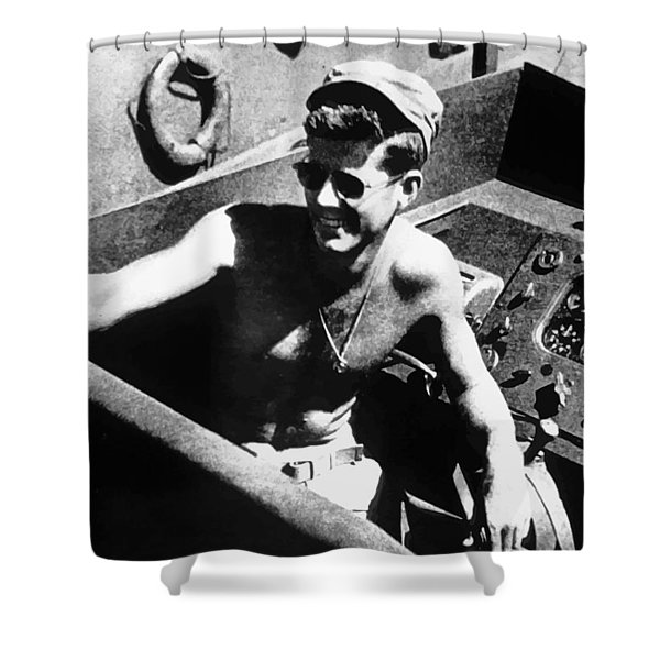 Jfk On Pt 109 Shower Curtain by War Is Hell Store