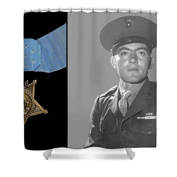 John Basilone and The Medal of Honor Shower Curtain by War Is Hell Store