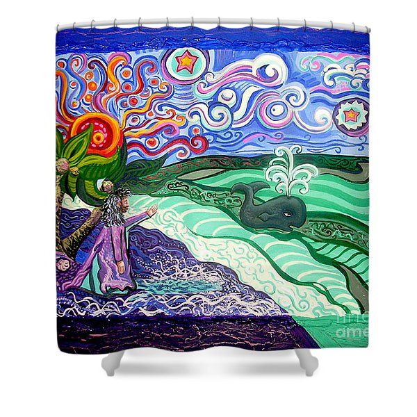 Jonah and The Whale Shower Curtain by Genevieve Esson