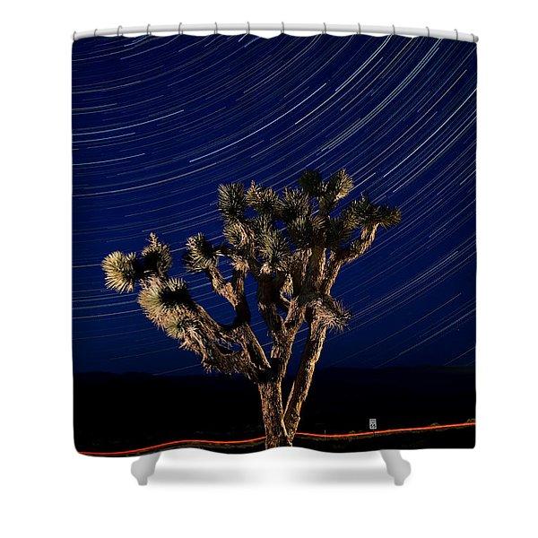 Joshua Tree And Star Trails Shower Curtain by Steve Gadomski