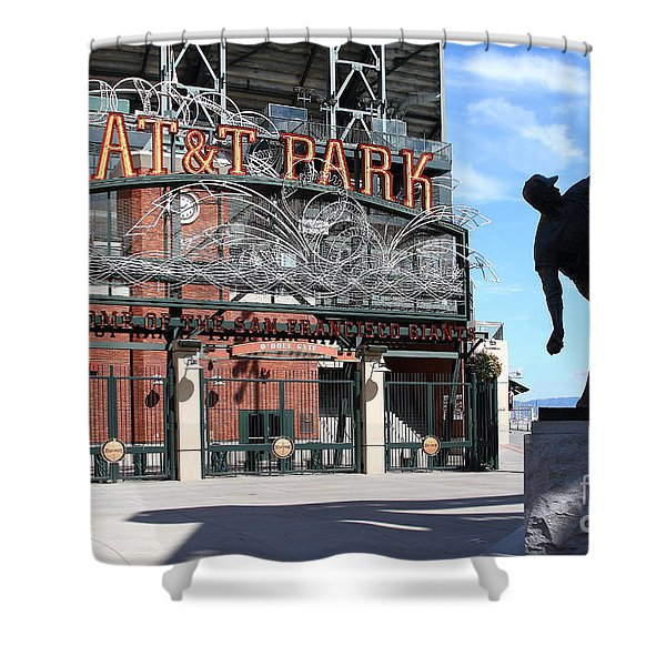 Juan Marichal at San Francisco ATT Park . 7D7639 Shower Curtain by Wingsdomain Art and Photography