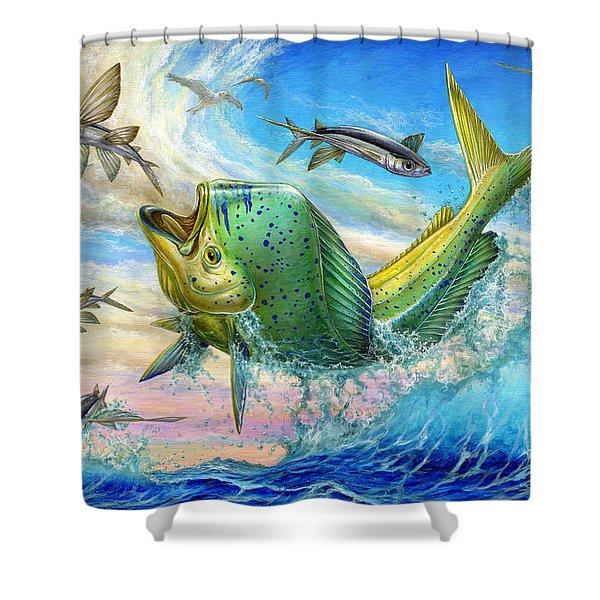 Jumping Mahi Mahi And Flyingfish Shower Curtain by Terry Fox