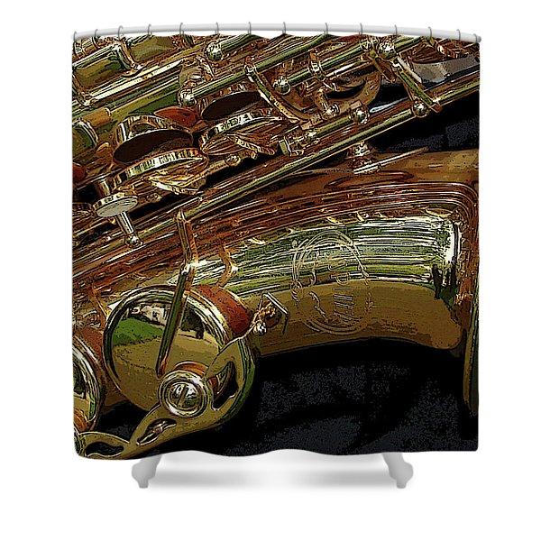 Jupiter Saxophone Shower Curtain by Michelle Calkins