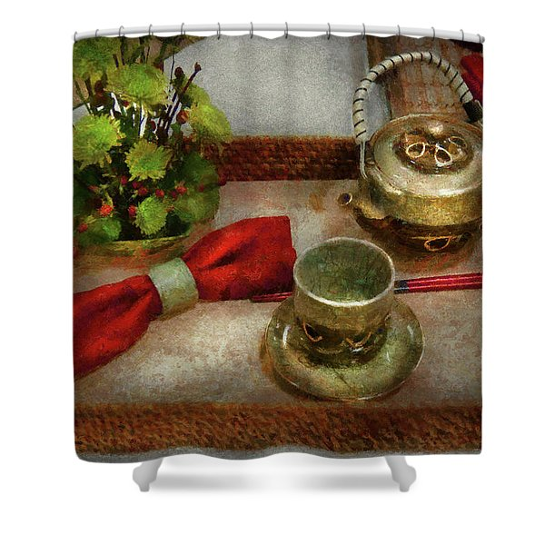 Kettle - Formal tea ceremony Shower Curtain by Mike Savad