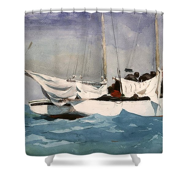 Key West Hauling Shower Curtain by Winslow Homer