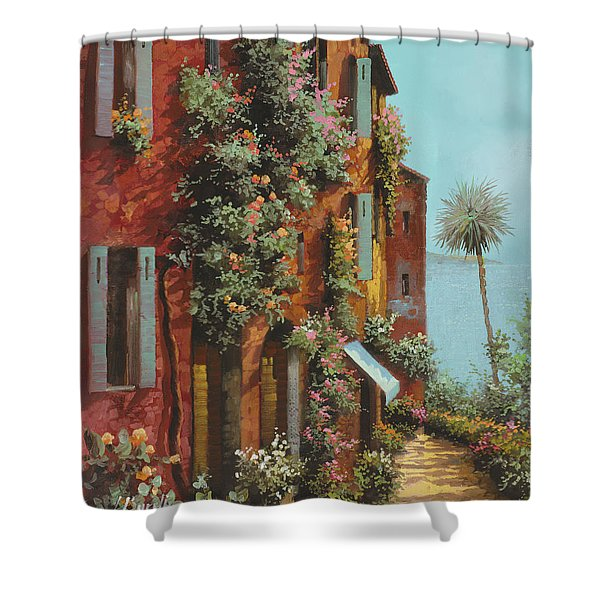 la strada verso il lago Shower Curtain by Guido Borelli