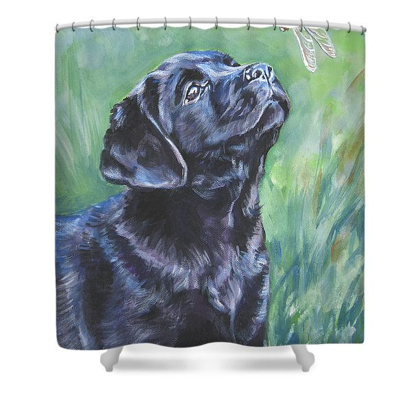 Labrador Retriever pup and dragonfly Shower Curtain by L A Shepard